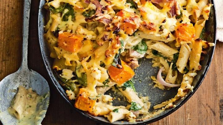 Creamy pumpkin, chicken and pesto pasta bake – Starts at 60