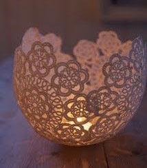 doily tea light holder