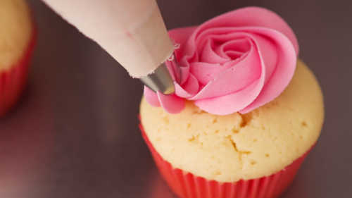 Close up pink rose frosted cupcake being piped Horizontal
