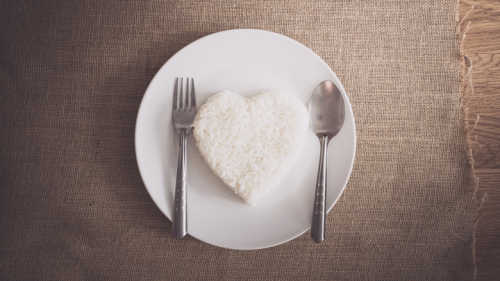 rice heart shape on whiteplate