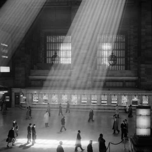 1960s Crowd Walking Past The Sunbeams Coming Through The Atrium Of Grand Central Station Maganificent Dramatic Poetic Cavernous