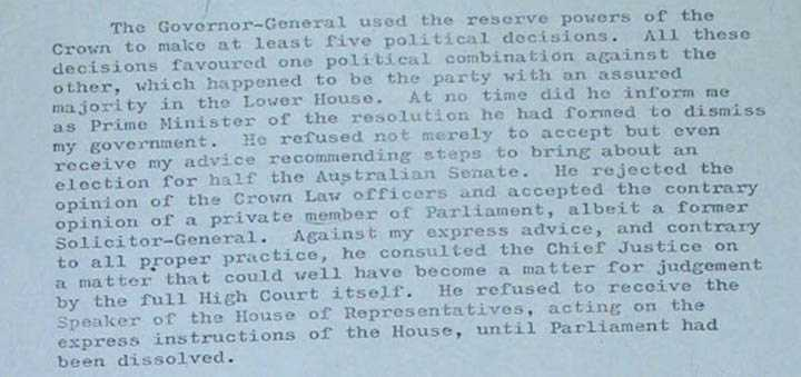 Whitlam letter to the queen December 1975