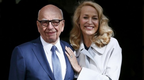 Rupert Murdoch and Jerry Hall leave Spenser House after getting married.