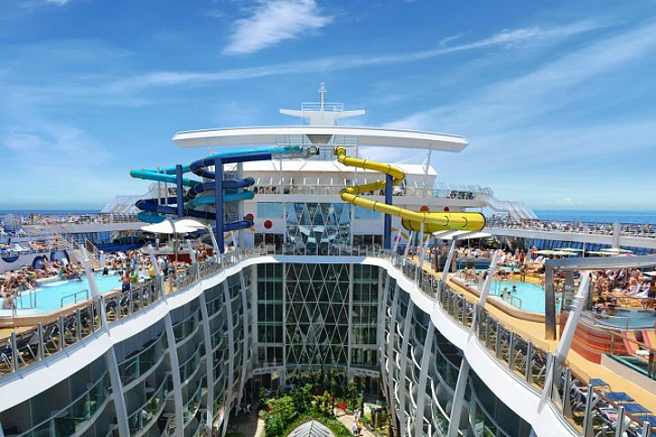 Take a ride on the waterslides.