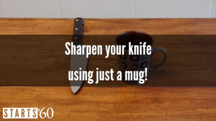 How to sharpen your knife with a mug