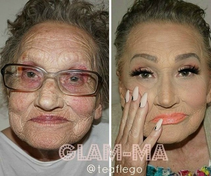 Before and after shots of 80-year-old grandma, Livia