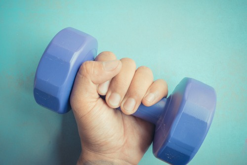 Pick up some hand weights for an easy way to up the anti.