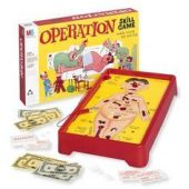 Operation is a battery-operated game of skill, you had to use your hand-eye coordination to remove body parts of the 'patient' in return for money. It's a tricky game because the pieces of the ailments fit neatly into spaces provided on the board.