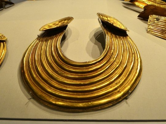 Bronze Age Gold artifacts held In Ireland's National museum. Photo courtesy Lorraine Parker.