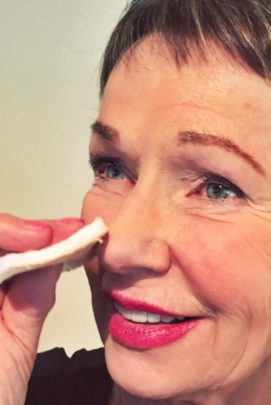 We only need to cover shadows, darkness, broken veins and discolouration, so best to use a cream-to-powder compact. Photo courtesy Margaret Woodberry.
