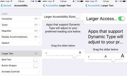 Here's how you can increase the size of the text on your Apple device.