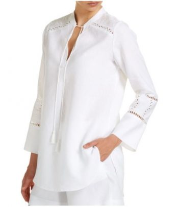 100 per cent linen blouses are perfect for the summer heat.