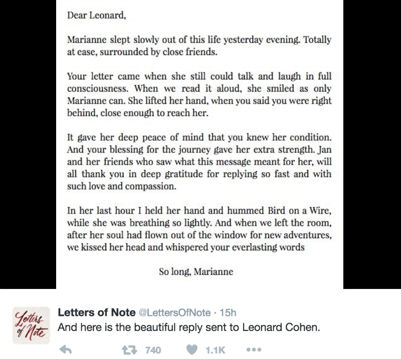 The reply written for Leonard on Marianne's behalf.