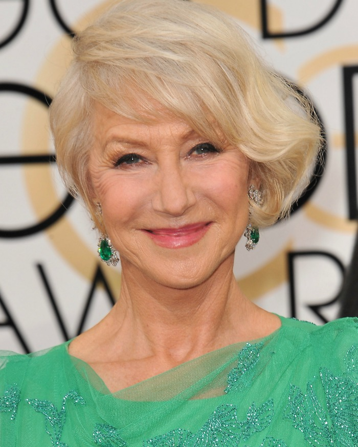 Helen Mirren looks very stylish and radiant.