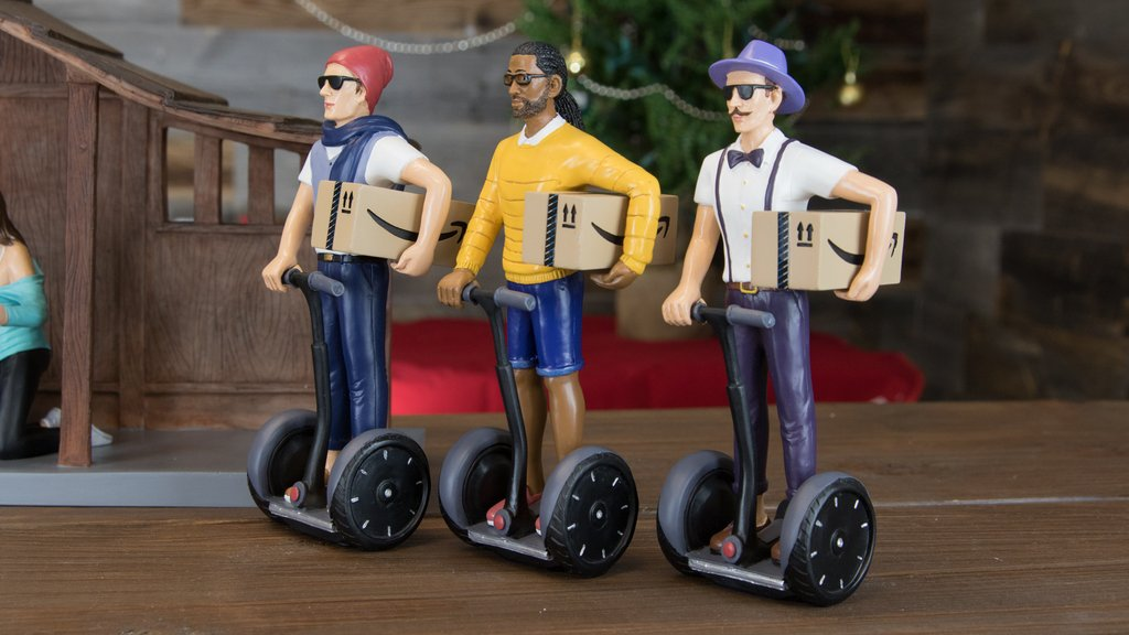 The three wise men 'roll up' on Segways with their gifts for the newborn king. Photo Modern Nativity.