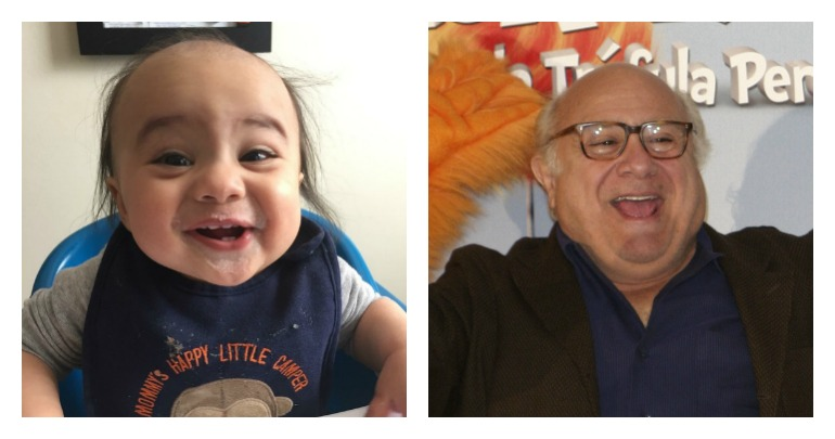 Baby Logan Bihamta, left, looks very much like Danny Devito. Photo: Reddit / Shutterstock.