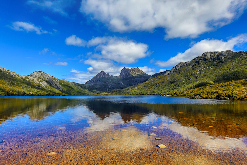 View of Cradle mountain in Tasmania
