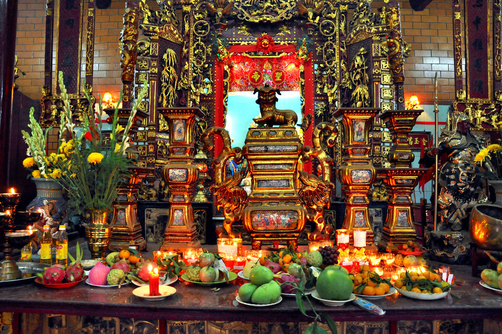 Offerings for the Gods in Ong Temple, Vietnam