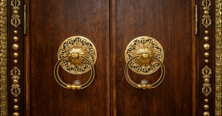 doors with gold handles
