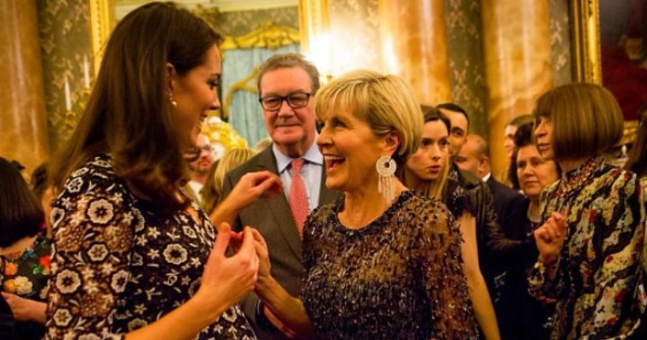 The Duchess of Cambridge shares a laugh with Australia's Foreign Minister Julie Bishop