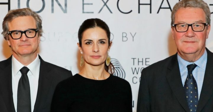 Colin Firth is pictured in London with his wife Livia and Australian diplomat Alexander Downer.