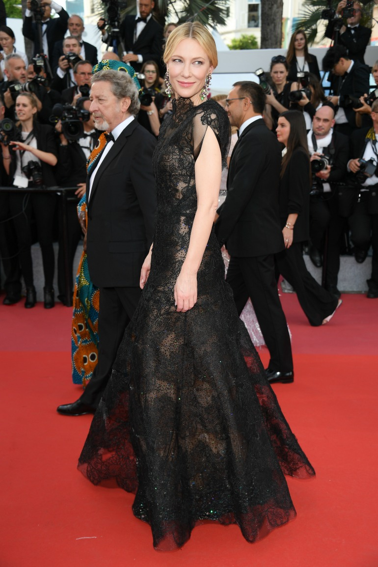Cate Blanchett stunned in a backless lace couture gown for the occasion. Source: Getty
