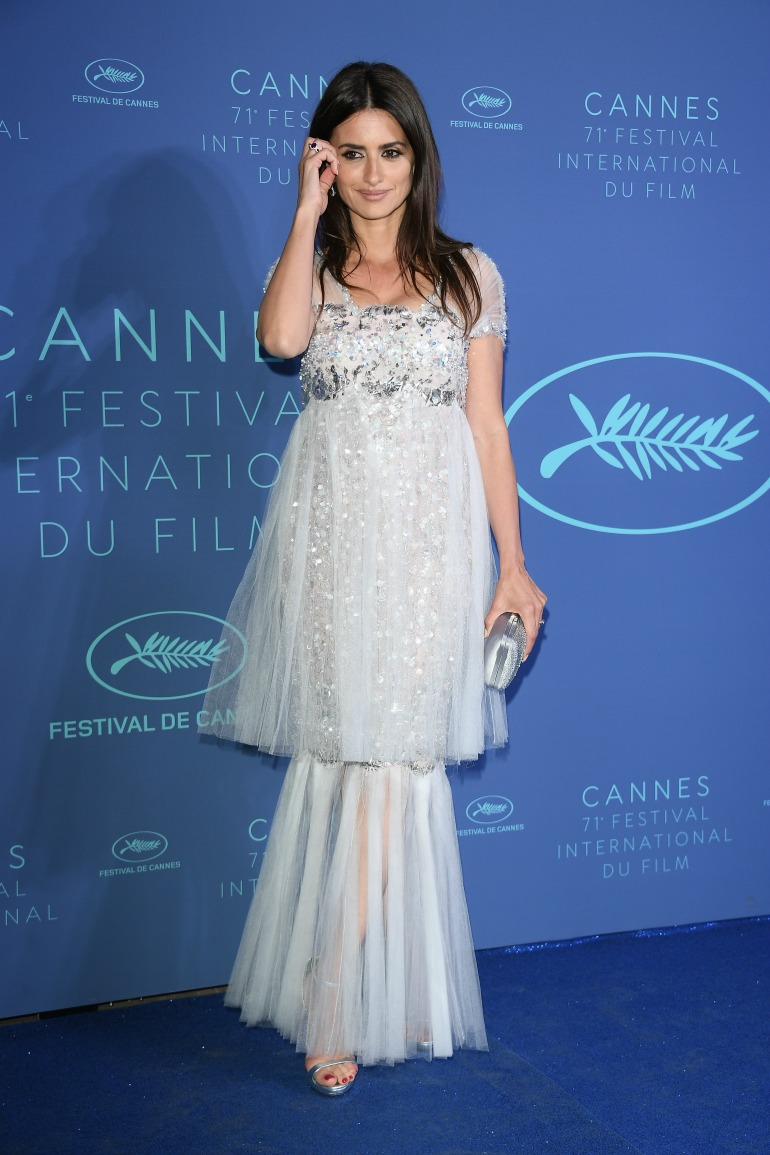 Penelope Cruz glowed in an icy-blue baby-doll tulle gown that featured an embellished bodice. Source: Getty