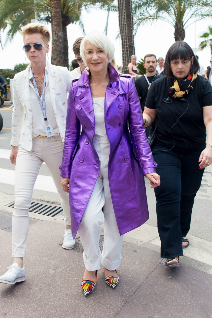 Helen rocked a purple jacket and funky flats at another Cannes event.