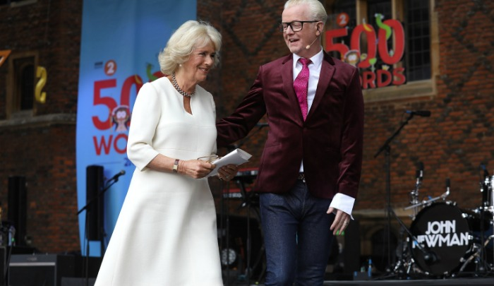 Camilla, the Duchess of Cornwall, was welcomed on stage by TV host Chris Evans at Hampton Court Palace. Source: Getty