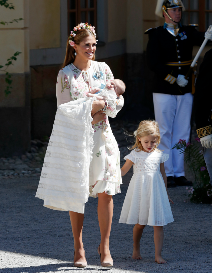 Princess Madeleine might's had her hands full with baby Adrienne but older daughter Leonore wasn't letting her out of her sight! Source: Getty