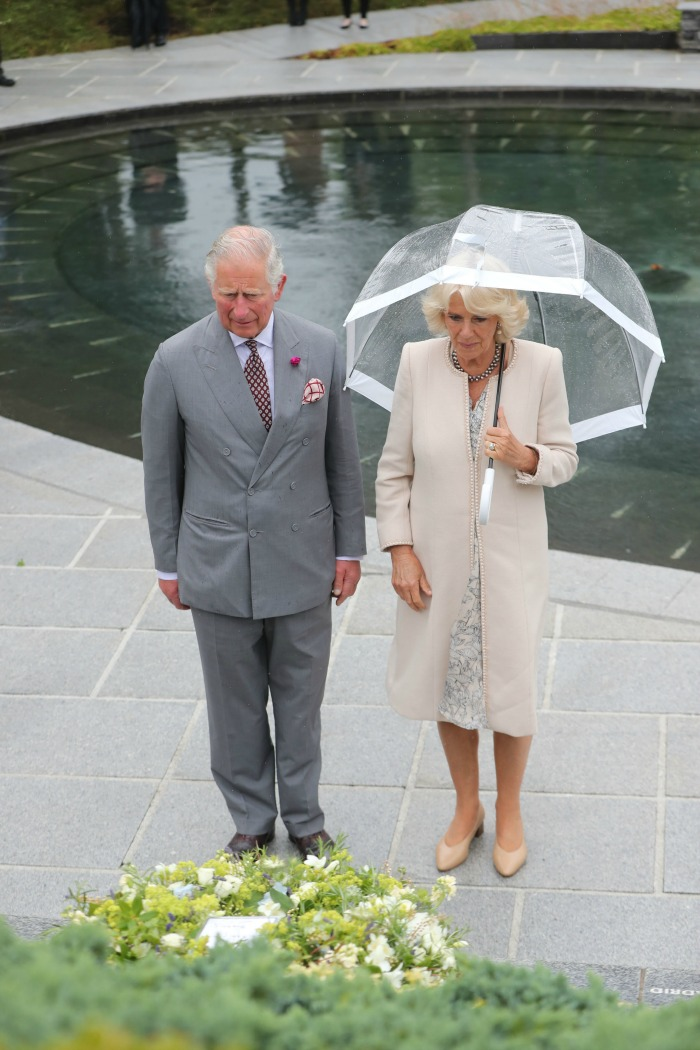Camilla and Prince Charles laid a wreath at the memorial. Source: Getty.