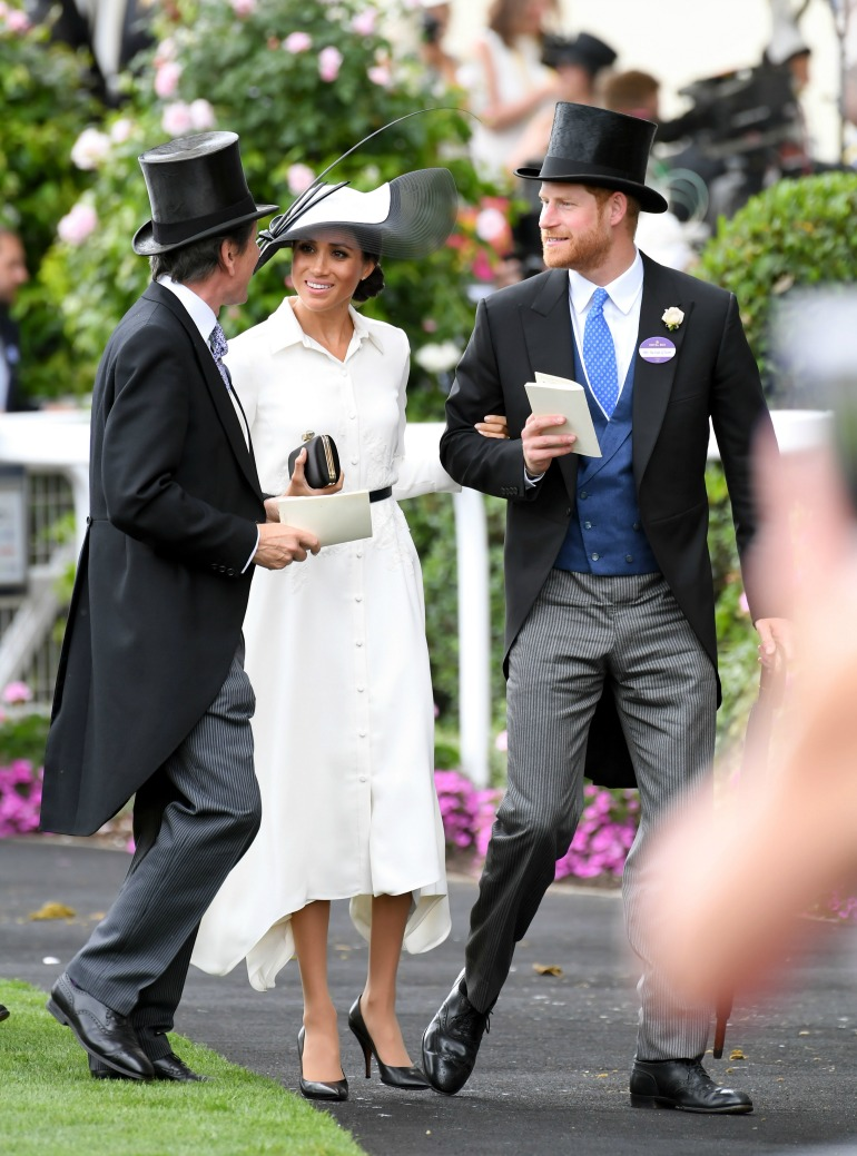 Meghan and Prince Harry stunned crowds as they joined the Queen for the opening day of Royal Ascot. Source: Getty