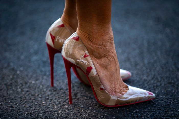 Melania Trump rocked some Louboutin shoes on her way to Brussels.