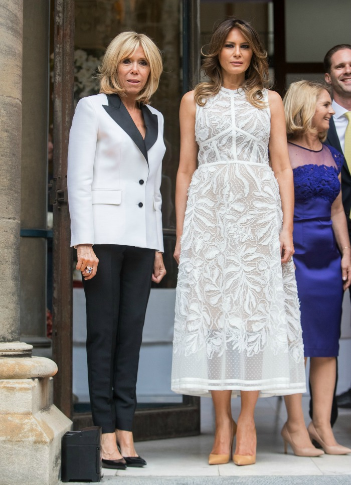 French First Lady Brigitte Macron and US First Lady Melania Trump step out together in Brussels looking stylish as ever.