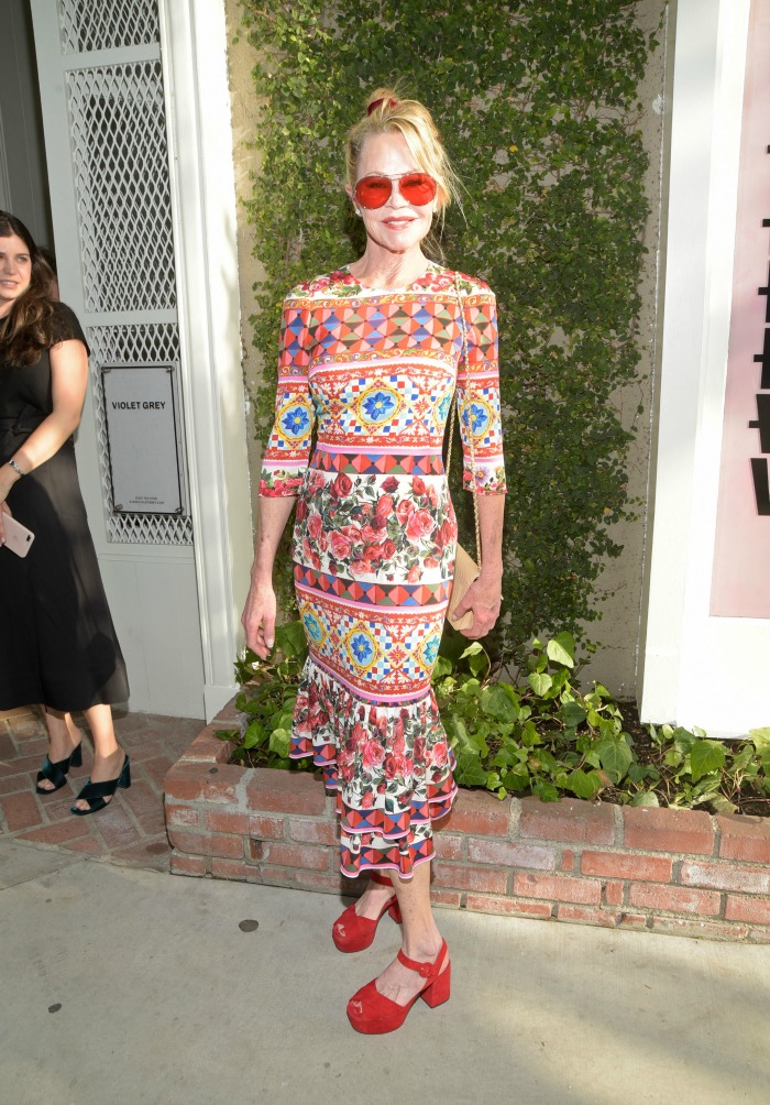 Melanie Griffith ensured all eyes were on her in the vibrant outfit. Source: Getty.