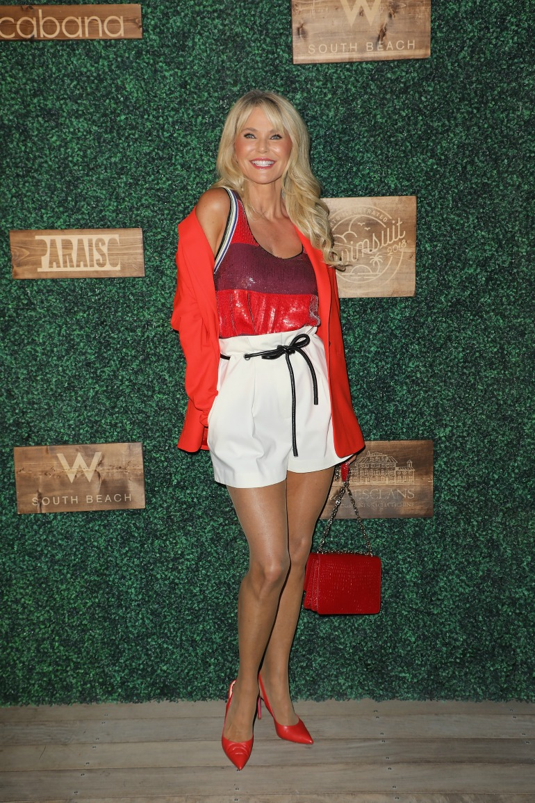 The supermodel stepped out in a striking red-and-white ensemble as she attended the2018 Sports Illustrated Swimsuit show on Sunday. Source: Getty