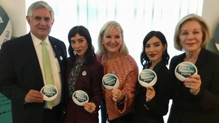 Wyatt pictured with The Veronicas, Dementia Australia CEO Maree McCabe and Dementia Australia National Ambassador Ita Buttrose.