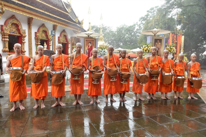 The 11 rescued Thai boys and members of the Wild Boars football team and coach Ekkapol Chantawong ordained as novice Buddhist monks.