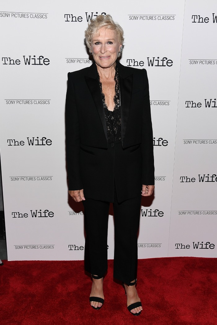 Glenn Close stepped out in a revealing black lace top for the New York Screening of The Wife.