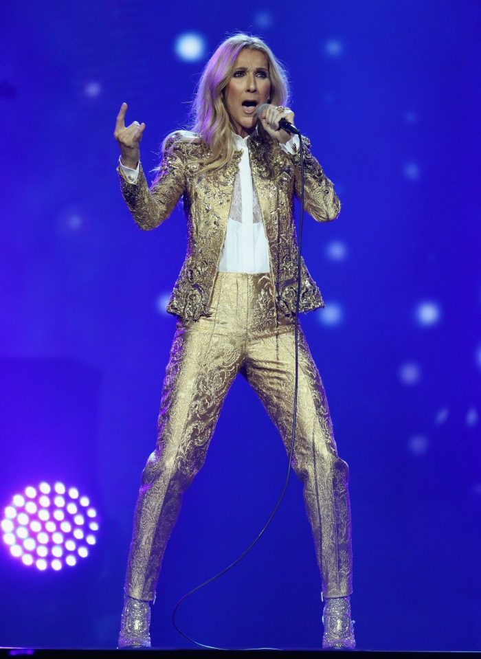 Celine Dion wowed in a metallic gold suit. Source: Getty.