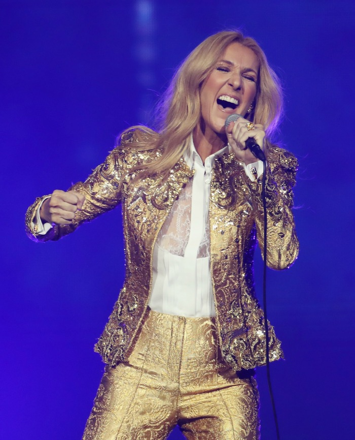 The singer added a transparent lace shirt to her outfit. Source: Getty.