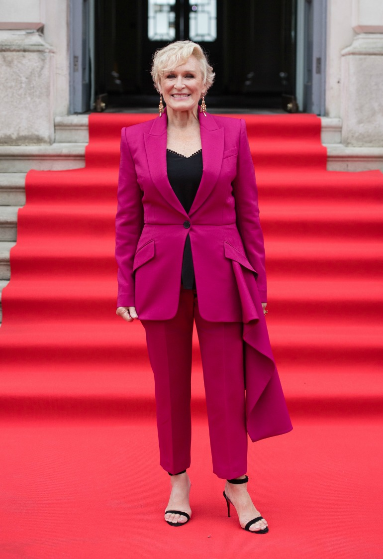 Actress Glenn Close, 71, put on a stunning display in a hot-pink suit as she attended the premiere and opening gala of her latest film, The Wife, in London on Thursday. Source: Getty