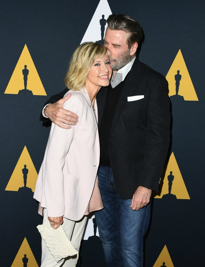 Olivia Newton-John and John Travolta have walked the red carpet to celebrate 40 years of Grease.