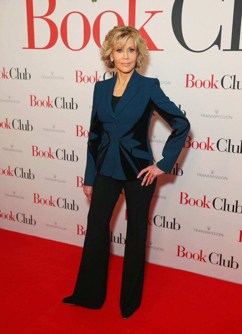 Jane Fonda turned heads in an eye-catching navy-and-black ensemble as she hit the red carpet for the premiere of her latest film, Book Club, in Sydney on Sunday night. Source: Getty