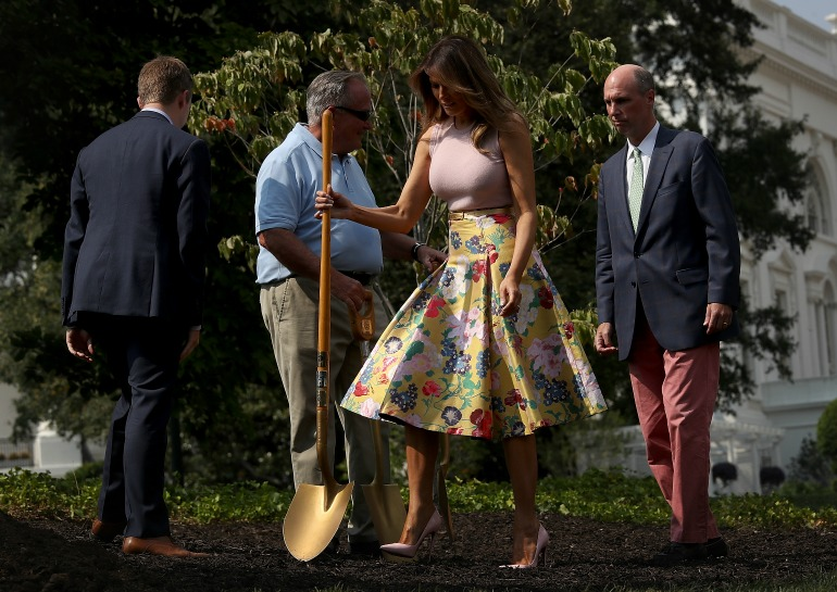 Melania put her most stylish foot forward as she welcomed the Kenyan president and his wife to the White House on Monday. Source: Getty