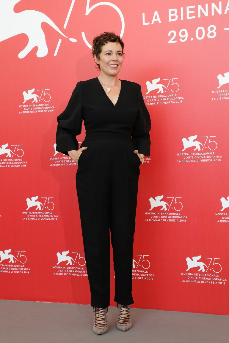 Olivia Colman turned heads in an all-black ensemble as she stepped out at the Venice Film Festival on Thursday. Source: Getty