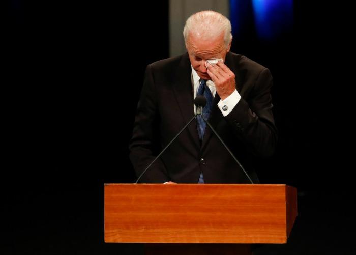 Former U.S. Vice President Joe Biden wipes a tear while giving a tribute during memorial service at North Phoenix Baptist Church for Sen. John McCain.