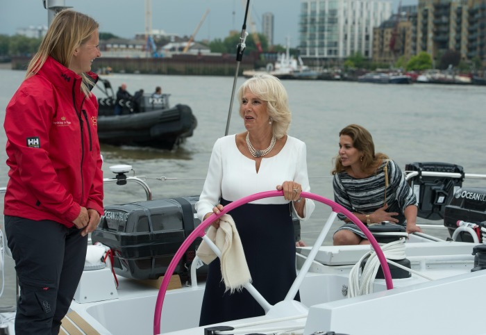 Camilla, Duchess of Cornwall and Princess Haya Bint Al Hussein during their visit to the newly refurbished 'Maiden' Yacht.