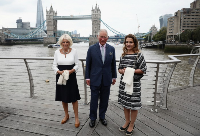Charles, Prince of Wales and Camilla, Duchess of Cornwall during their visit to the 'Maiden' yacht.