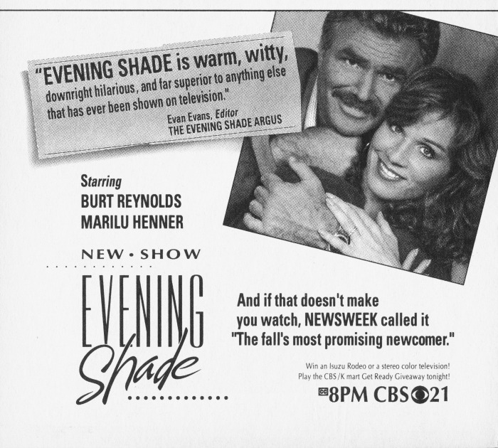 A promo for Evening Shade.